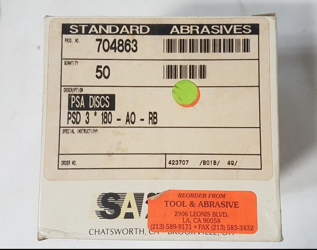 50 Pcs Standard Abrasives PSA Sanding Disc 704863 PSD 3 180 AO RB New US