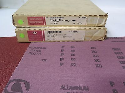 "Carborundum 9"" x 11"" Aluminum Oxide Metal Cloth 11103 Grit 50 Qty 50 Brand New"