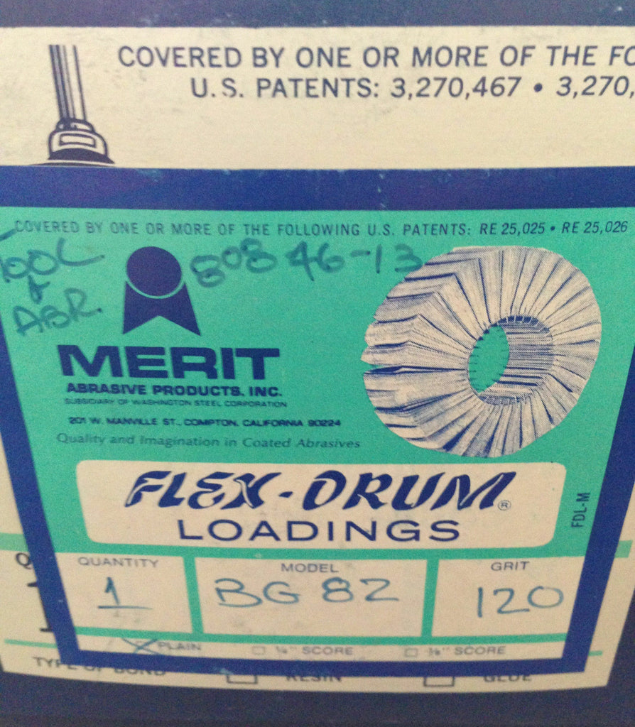 "MERIT FLEX DRUM Loadings 120 Grit Plain Segment Abrasive 2"" NEW BG 82 Box 10 Pcs"