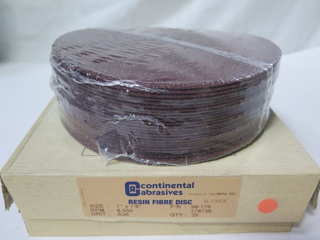 "Continental Abrasives 7"" x 7/8 Resin Fibre Discs 58-176 Grit A36 Qty 25 New"