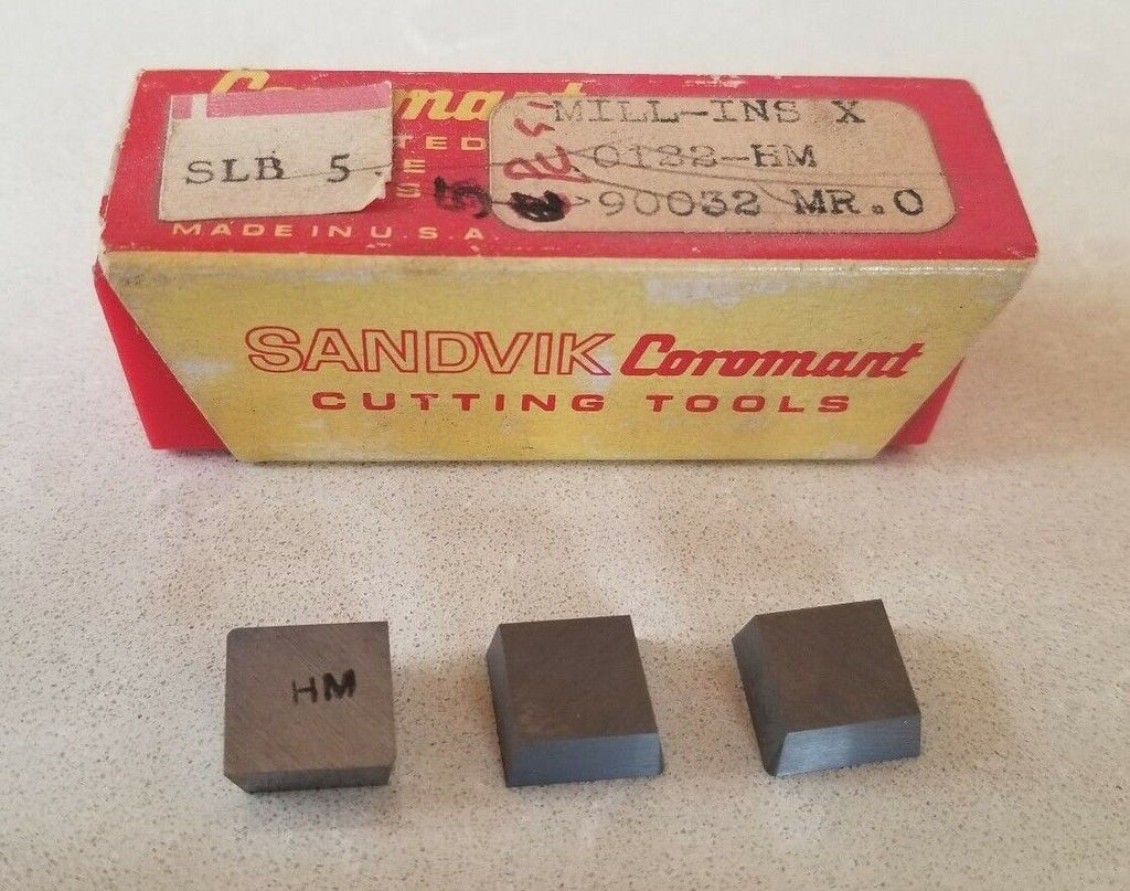 SANDVIK Coromant MILL-INS X 0122-HM 90032 MR.0 Lathe Mill Carbide Inserts 3 Pcs