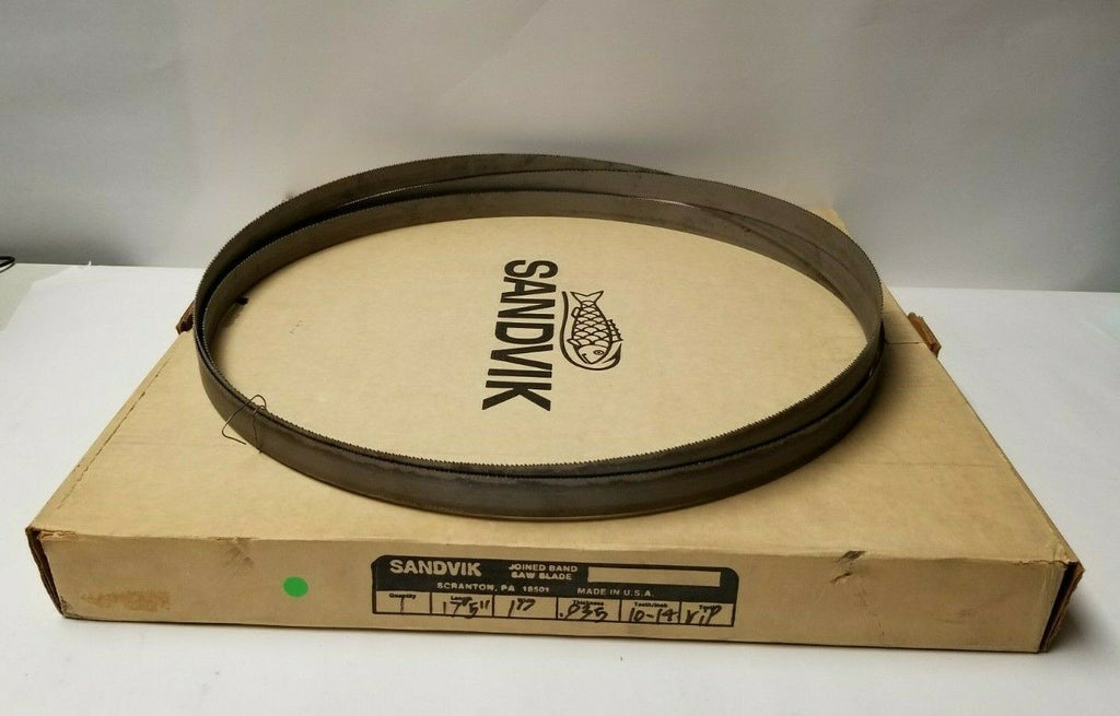 "1 New SANDVIK 17' 5"" Length Joined Band Saw Blade .035 Thickness 1"" Width"