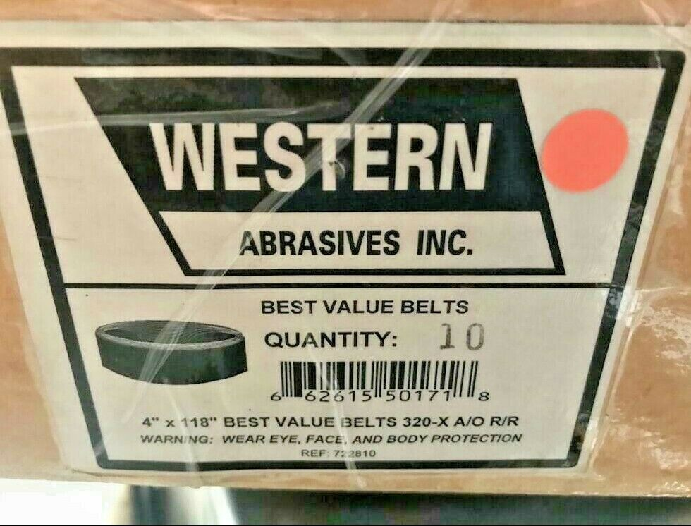 "10 Western Abrasive Best Value Sanding Belt 4"" x 118"" 320-X A/O R/R Brand New"