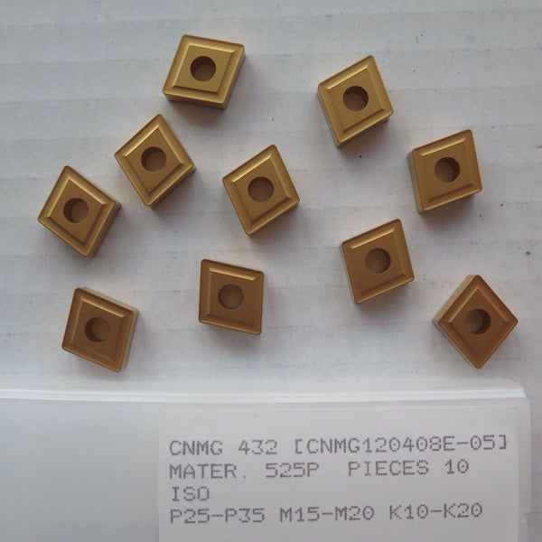 10 New Pcs CNMG 432 Carbide Inserts Gold Turning Lathe Grade PRAMET SECO