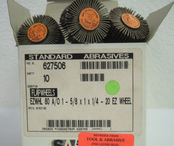 Standard Abrasives 627506 Flap Wheels 1-5/8 x 1 x 1/4  - 20 Ez Wheel 10 Pcs New