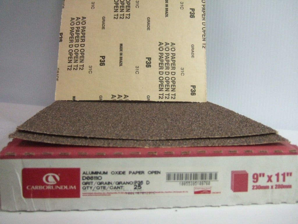 "Lot of 50 Carborundum  Aluminum Oxide Paper Open 9"" x 11"" P 36 Grit New"