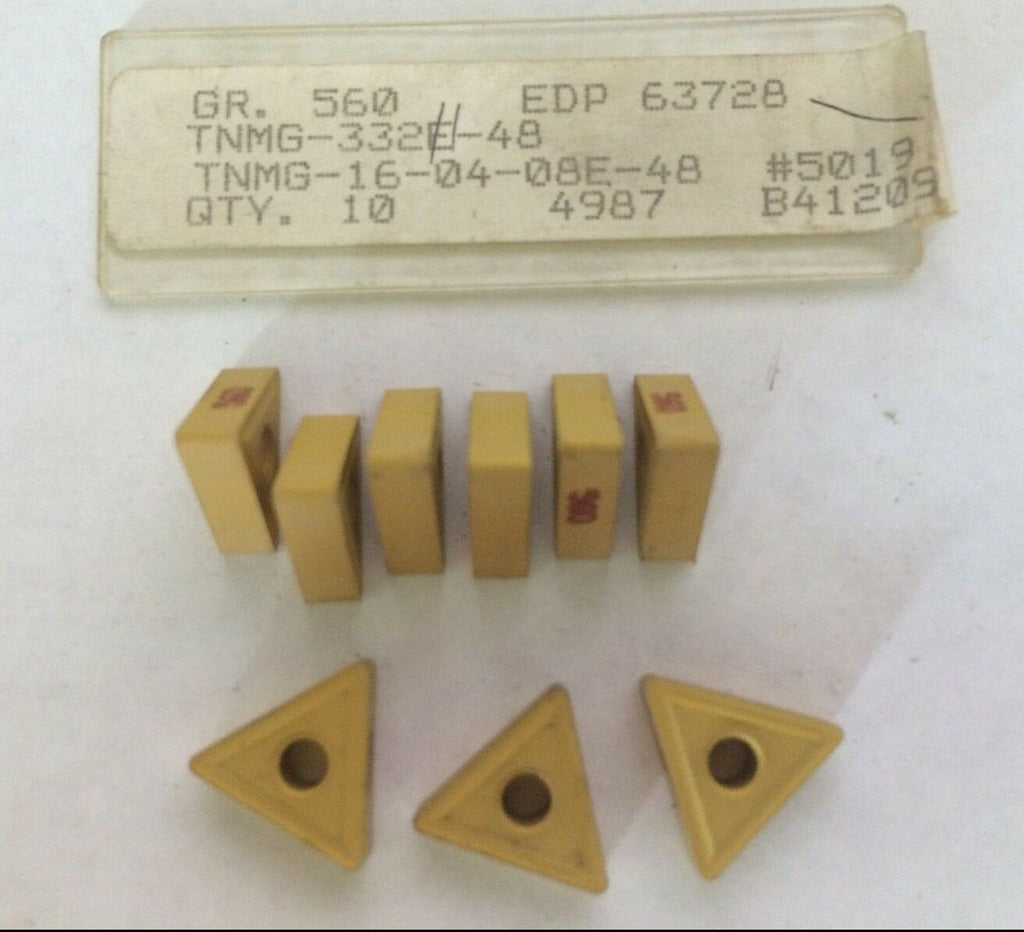 9 Pcs Carboloy TNMG 332 560 48 16 04 08E 63728 Lathe Carbide Inserts Tools New