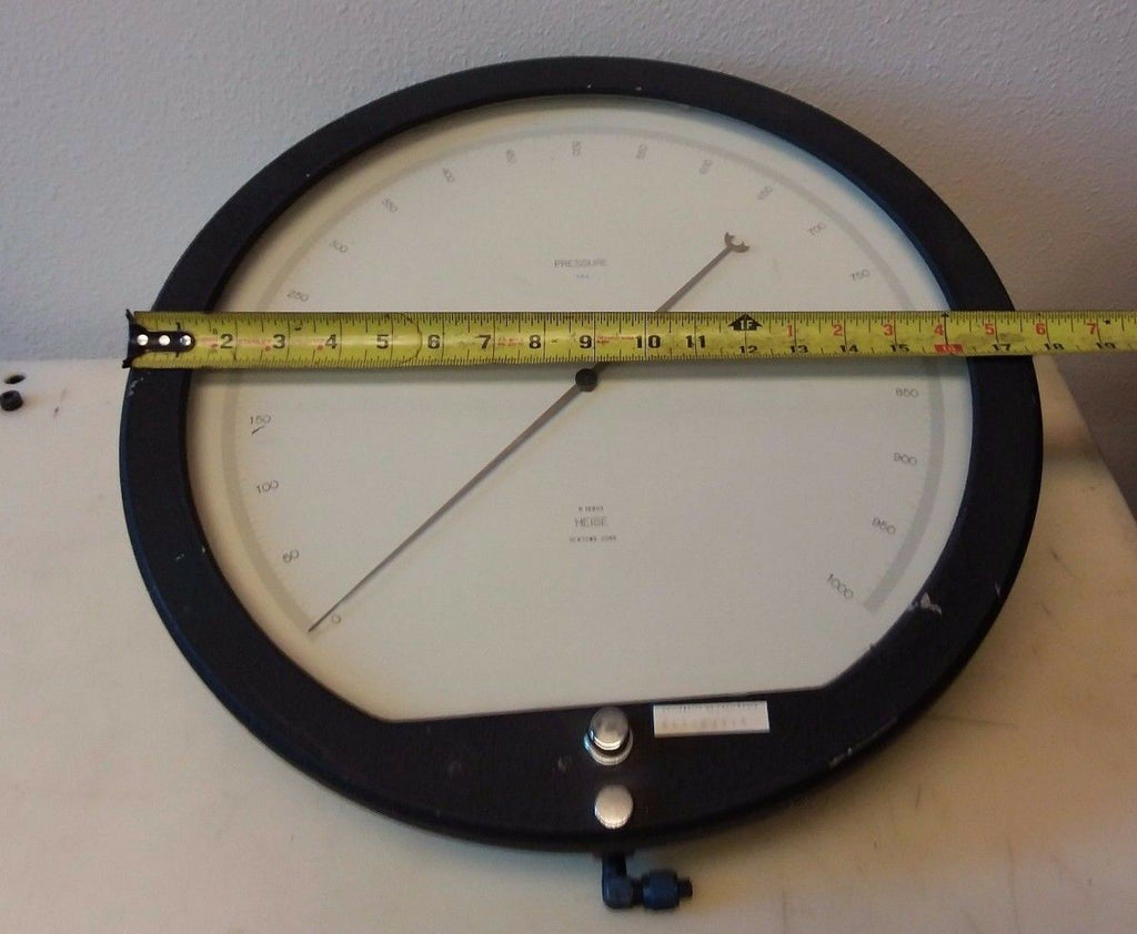 "HEISE Pressure Gauge 0-1000 16""  Psi Divisions Test Gage Newtown Conn H 12983"