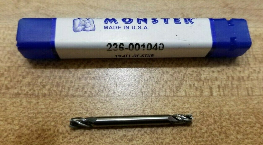 Mill Monster 236-001040 1/8 4 FL Double End Mill Stub Carbide Made in USA