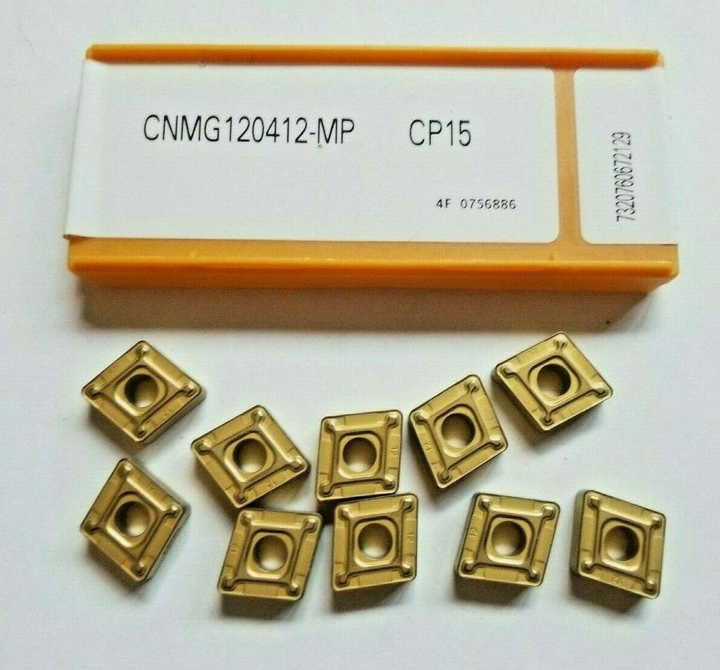 10 Pcs CARBOLOY CNMG 120412-MP CP15 Carbide Inserts Lathe Tools New Gold