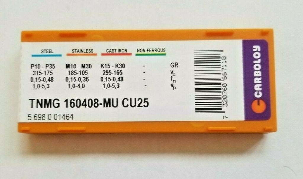 10 Pcs CARBOLOY TNMG 160408-MU CU25 Carbide Inserts Lathe Tools New