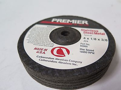 "Carborundum Premier Stainless Steel 4 x 1/8 x 3/8"" Grinding Wheels Discs Qty 5"