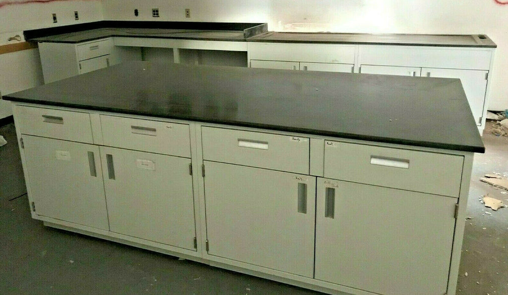 Laboratory Cabinets Lab Casework Solid Countertop Metal Island 4' x 8' Drawers