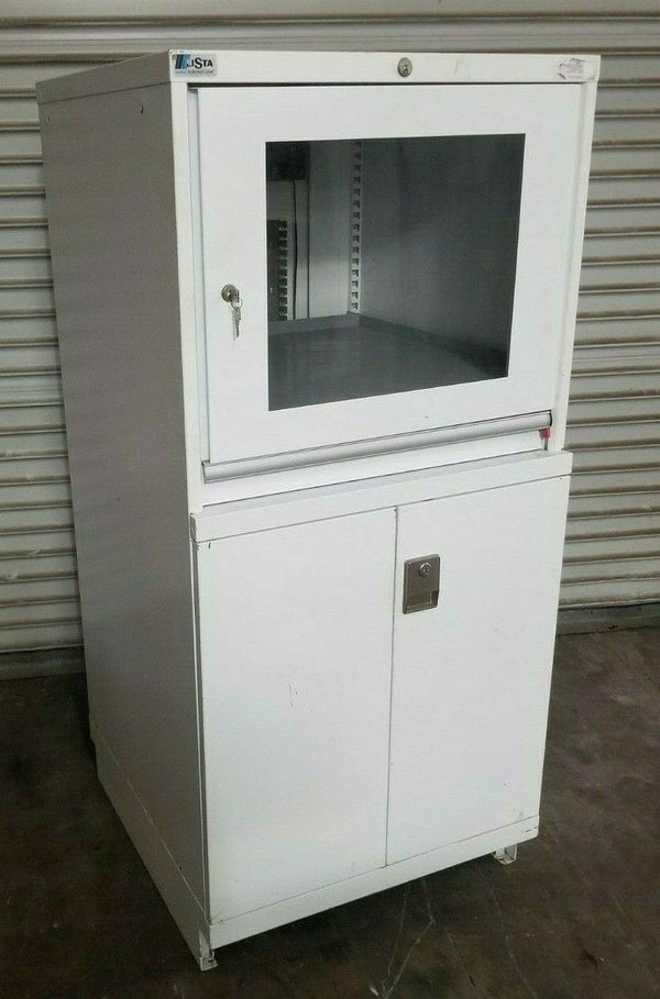 "Lista Glass Display Server Computer Workstation Metal Cabinet 28"" x 29"" x 61"""