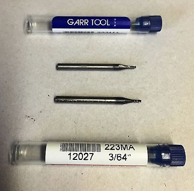 "Lot of 2 GARR Tool 3/64"" 223MA End Mill Carbide EDP # 12027 New"
