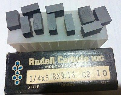 10 Pcs Brand New Carbide Blank Inserts 1/4 x 3/8 x 9/16 C2 Made In USA By Rudell