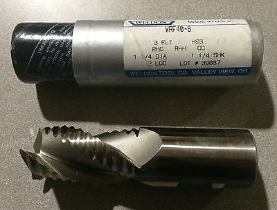 "New Weldon HSS End Mill 1-1/4"" Dia 3 Flute Rougher WRF40-8 USA Made Tools"