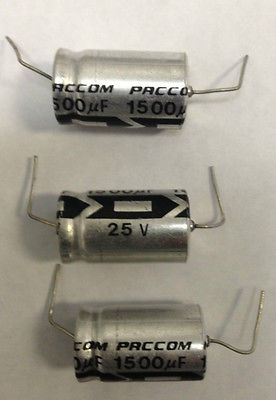 New Lot of 20 Pcs Axial Electrolytic Capacitor 1500UF 25V Made by PACCOM