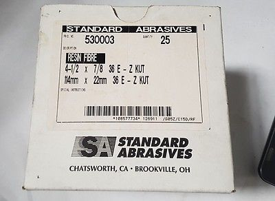 Standard Abrasives 530003 Resin Fibre 4-1/2 x 7/8 36 E - Z KUT 25 Pcs New 114 mm