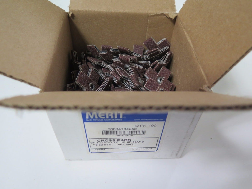100 Pcs MERIT Cross Pads 08834184258 CP 1-1/2x1-1/2x 1/2 8P 60ARB 8-32 EYE New