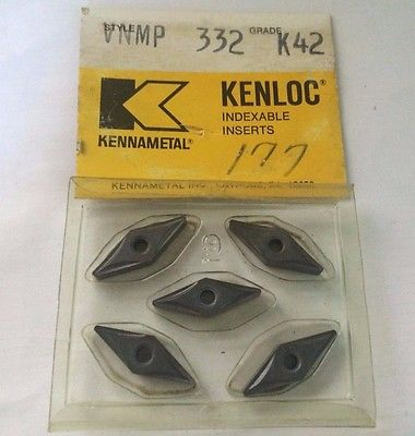 KENNAMETAL KENLOC Indexable VNMP 332 K42 Lathe Carbide 5 Inserts Mill Cut-Off