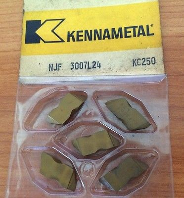 Kennametal NJF 3007 L24 KC250 Lathe Carbide Inserts 5 Pcs Grooving Cut Off Gold