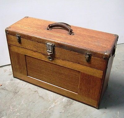 Vintage Gerstner Machinist Tool Chest Wood Box Tooling Taps Drill Bits EndMills