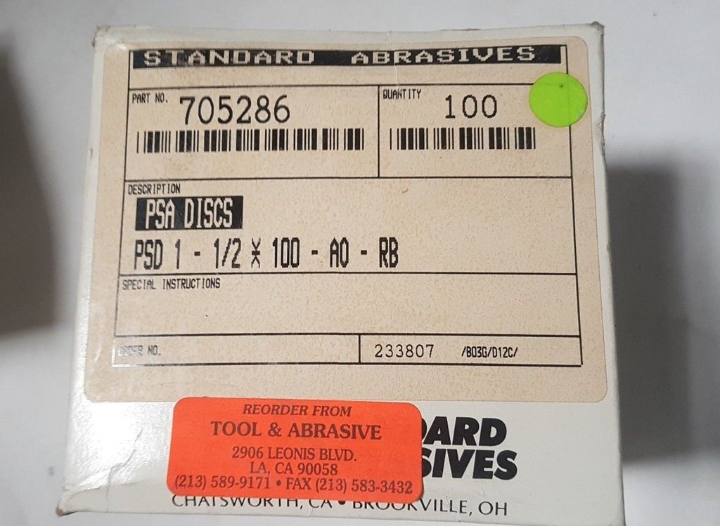 100 Pcs Standard Abrasives PSA Sanding Disc 705286 PSD 1 - 1/2 100 A/O RB New