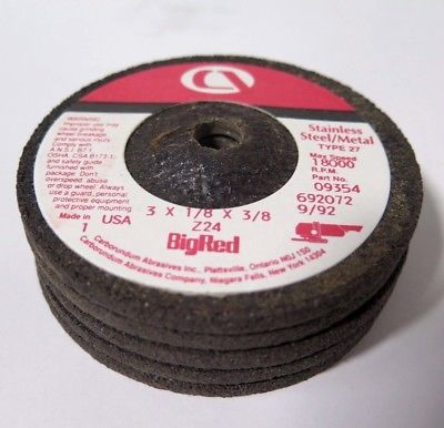 "Carborundum Big Red Stainless Steel 3 x 1/8 x 3/8"" Grinding Wheels Discs Qty 5"