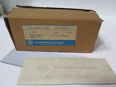 "Carborundum Abrasives 3 x 8"" Dri-Lube Paper Grit 220 Qty 400 Sheets Brand New"