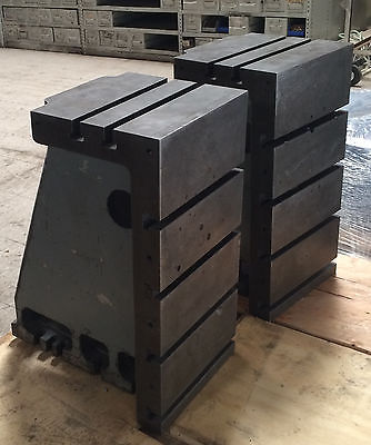 Pair T-Slotted Angle Block Plate Cast Iron Milling Machine Cincinnati 24x12x12