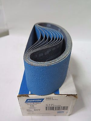 "Norton 3"" x 24"" Sanding Belts 87831 Grit 60Y Qty 10 R821 Brand New"