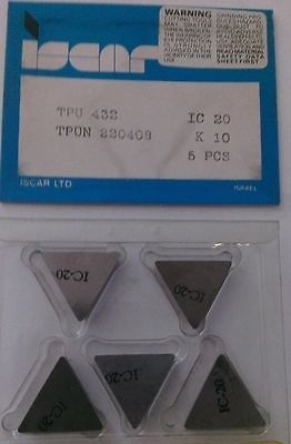 ISCAR TPU 432 TPUN 220408 IC 20 K 10 Carbide Inserts 5 Pcs Lathe Mill New Tools