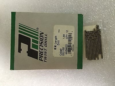Lot of 12 High Speed Drills S.M Length 1.55 PRECISION Twist Drills Made in USA