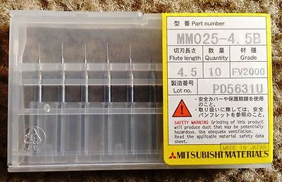 10 New Micro Solid Carbide Drill Bits Mitsubishi MM 025 - 4.5 PCB Jewelry CNC