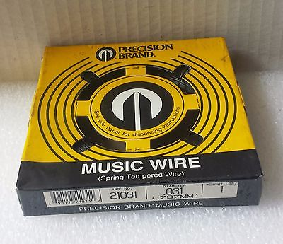Music Wire Precision Brand .031 Diameter 1 Lb New 21031 Made In USA .787 mm