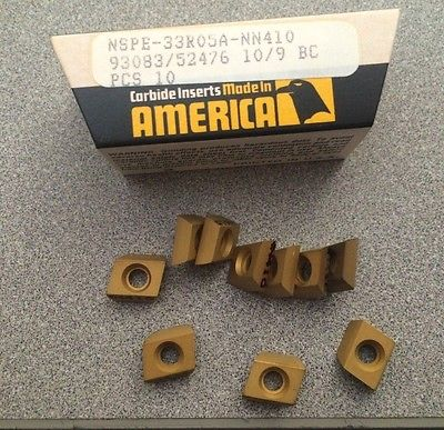NEWCOMER NSPE 33R05A NN410 93083 10/9 BC Lathe Carbide Inserts 10 Pcs New Gold