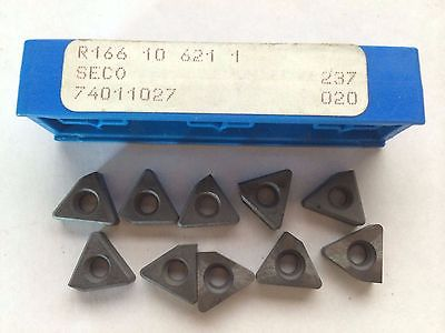 Seco R166 10 621 1 237 020 Threading Lathe Carbide Inserts 10 Pcs Tool Tools New