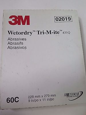 "3M 9 x 11"" Wetordry Tri-M-ite 431Q Abrasives Sheets 02019 Grit 60C Brand New"