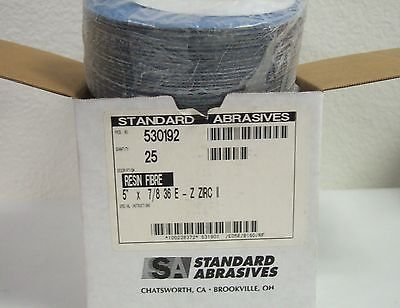 "Standard Abrasives 530192 Resin Fibre 5"" x 7/8 36 E-Z Zirc II 25 Pcs New USA"