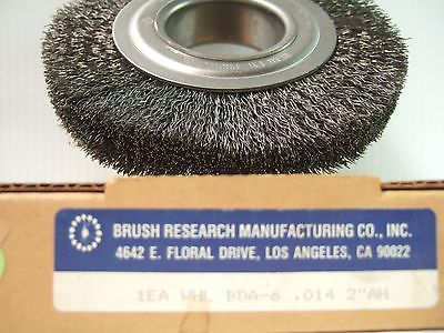 "Brush Research Manufacturing BDA 6"" Wire Wheel 2"" Arbor 1"" Thickness 4500 R.P.M."