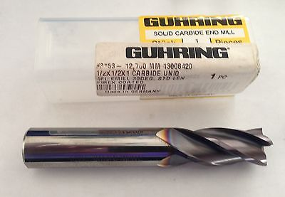 Lot of 2 NEW GUHRING Solid Carbide End Mill 1/2 x 1/2 x 1 Firex Coated 4 Flute