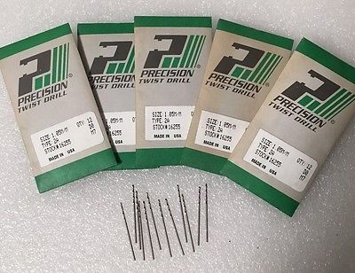 Lot of 12 High Speed Steel Drills 1.05 mm PRECISION Twist Drills Made in USA