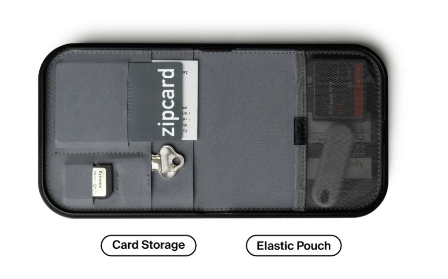 below the valet tray showing the card holders as well as an elastic pouch