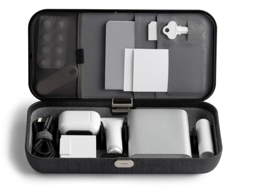 interior of orbitkey nest showing all the compartments and storage space