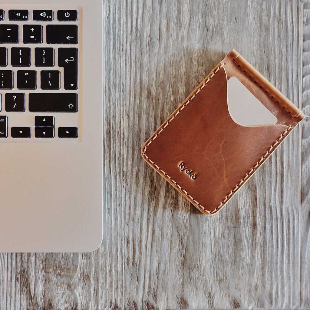 The Jones wallet in Tan leather shows a beautiful texture and keeps looking even better as you use it more. By Ryoko Bags