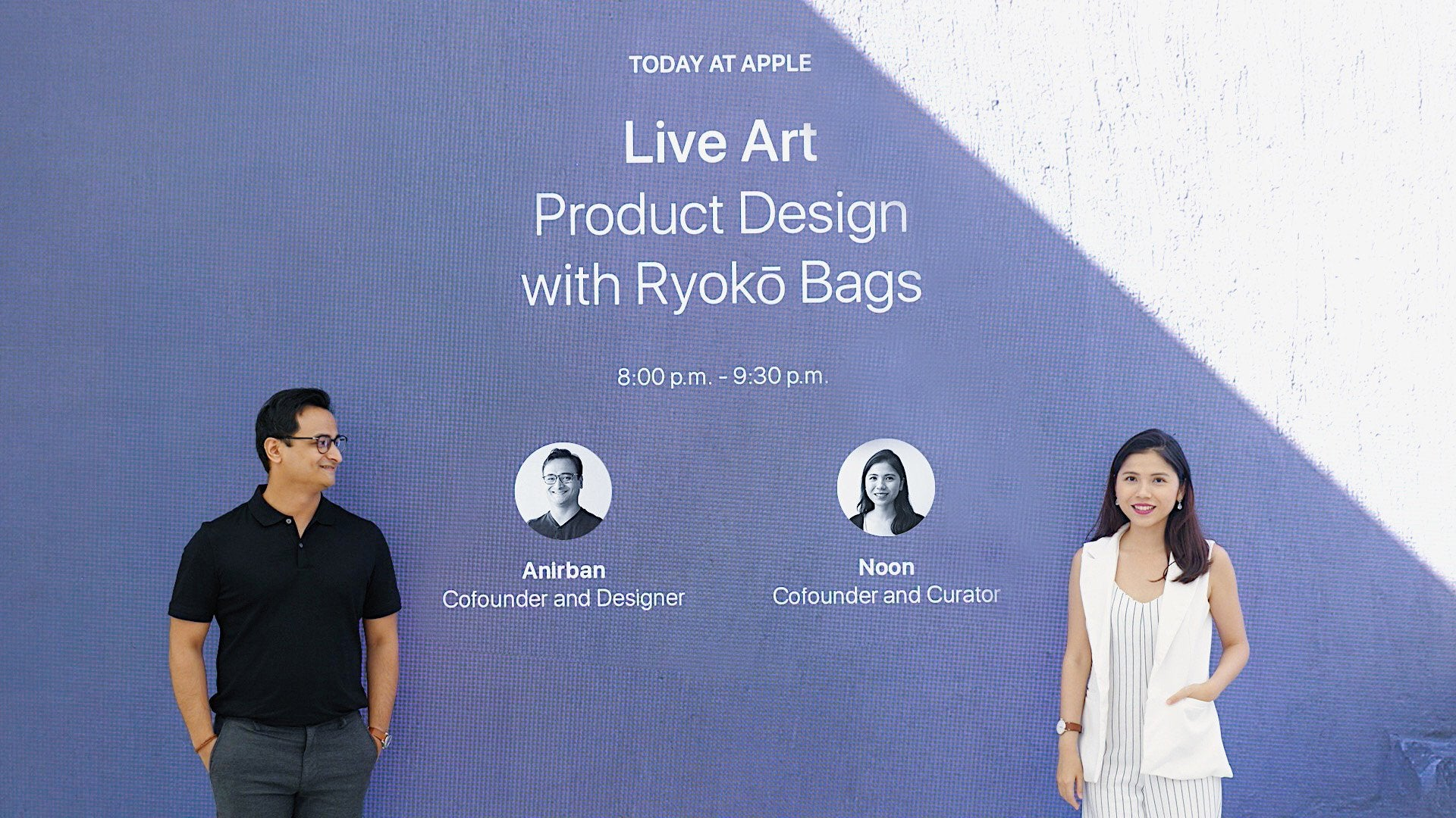 Noon and Anirban from Ryoko Bags at Apple