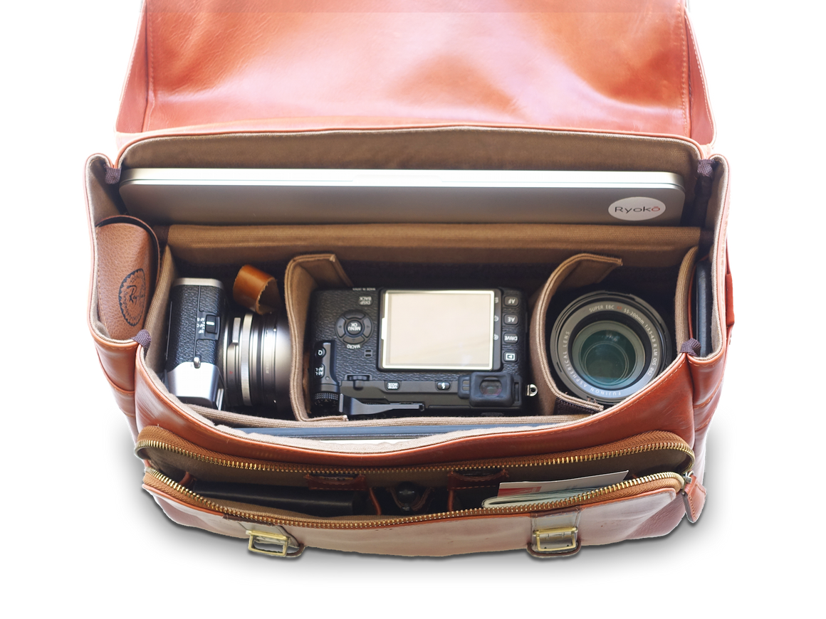 MADISON Travel/Camera Bag, Travel/Camera Bags by Ryoko Bags Dubai. Hand Stitched, using vegetable tanned Japanese leather