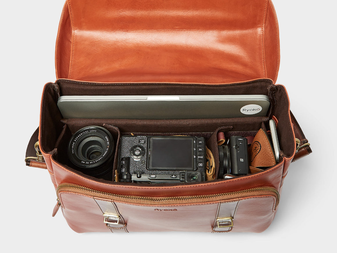 CLEVELAND Travel/Camera Bag, Travel/Camera Bags by Ryoko Bags Dubai. Hand Stitched, using vegetable tanned Japanese leather