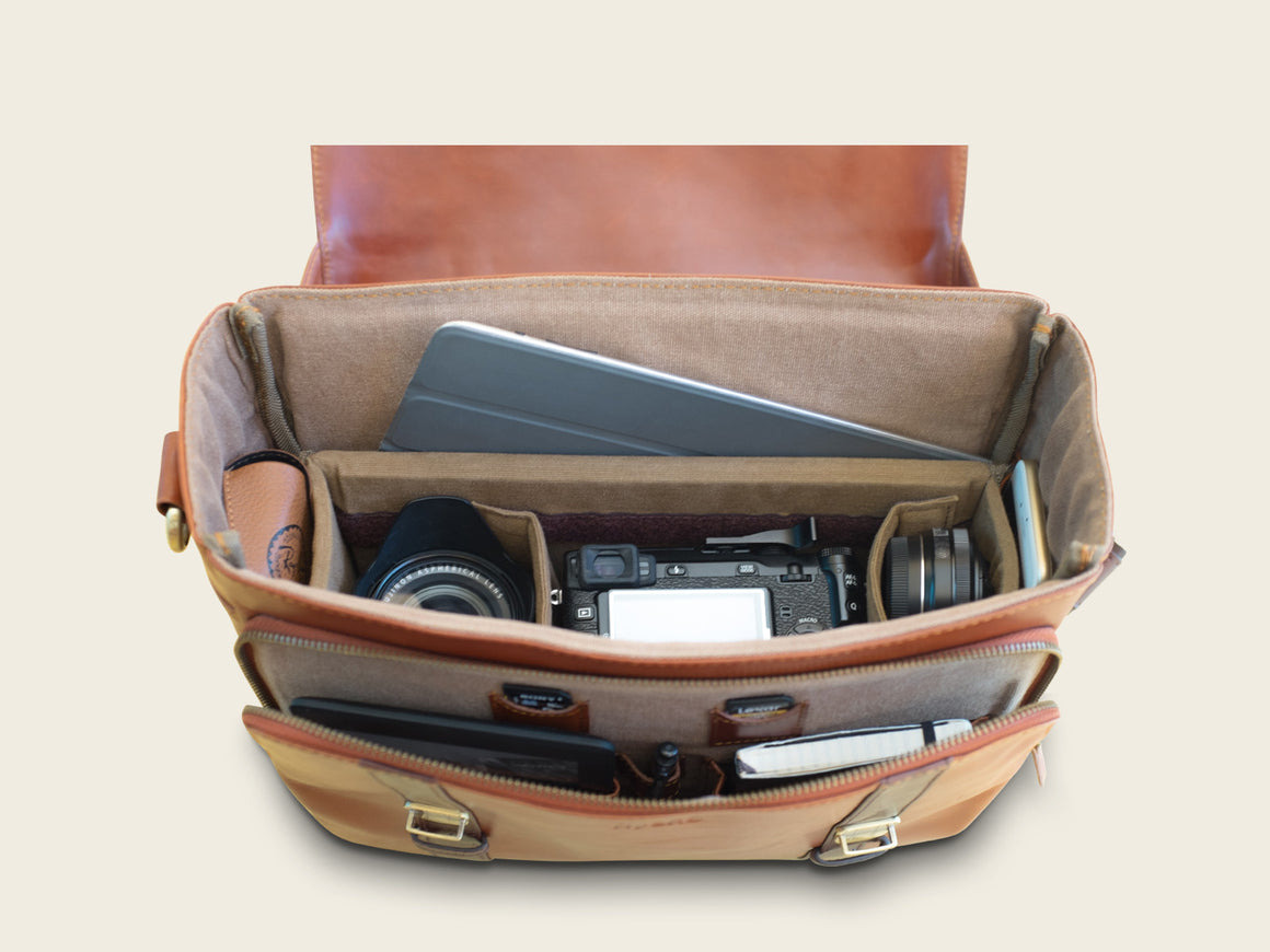 CLEVELAND Travel/Camera Bag, Travel/Camera Bags by Ryoko Bags. Hand-Stitched Japanese Leather Goods